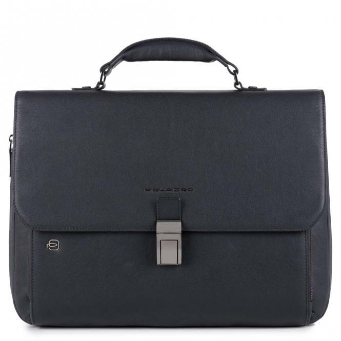 """Laptoptasche 15"""" erweiterbar mit Überschlag und CONNEQU-Anhänger nachtblau"""