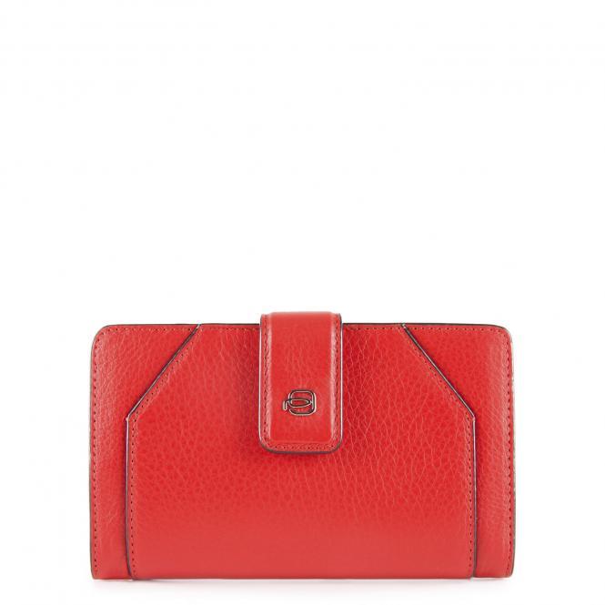 Damenbörse mit Hartgeldfach und RFID-Schutz rot