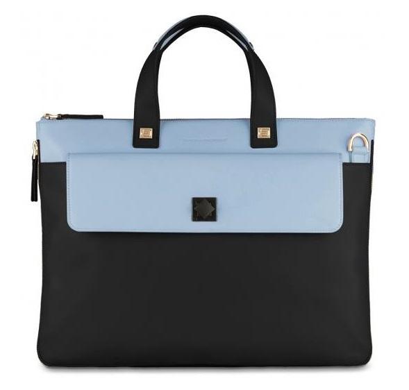 Erweiterbare, schmale Laptoptasche navy blue