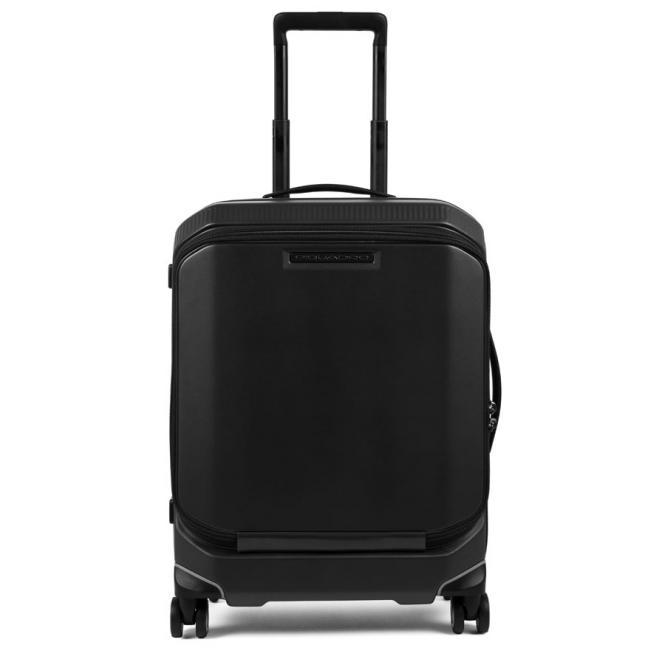 Kabinen-Hartschalencomputertrolley mit Vortasche, 4-Rollen Schwarz