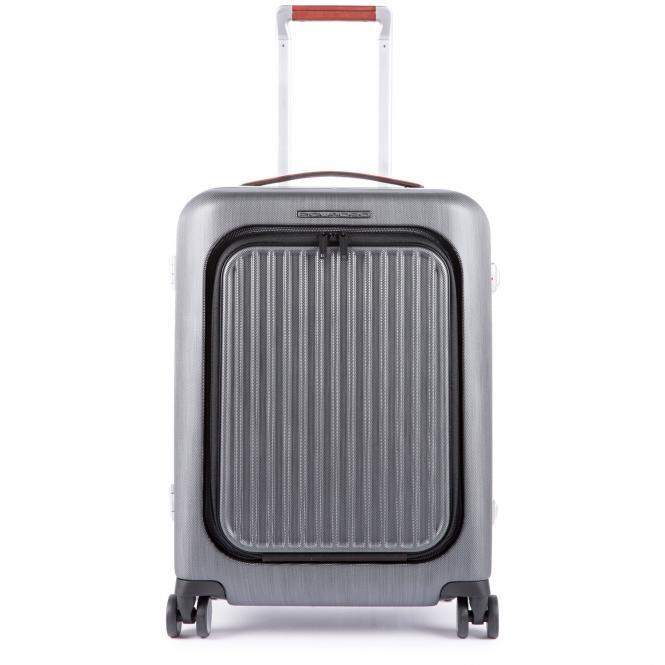 """Hartschalentrolley Cabin 4R mit Laptopfach 15.6"""" und CONNEQU schwarz/tabak"""