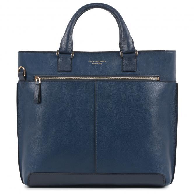 Doppelgriff-Laptoptasche mit iPad®-Fach blau