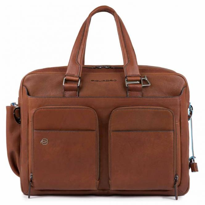 """Kurzgrifflaptoptasche 15"""" erweiterbar, mit Tabletfach, Regenschirmtasche/Flaschenhalter und CONNEQU cuoio tabacco"""