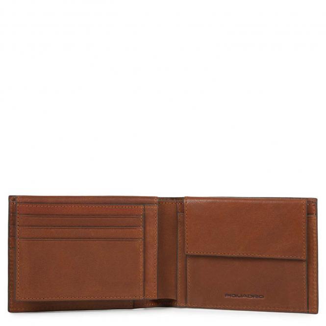Herrengeldbörse mit Ausweisfenster, Münz- und Kreditkartenfach + RIFD Hellbraun