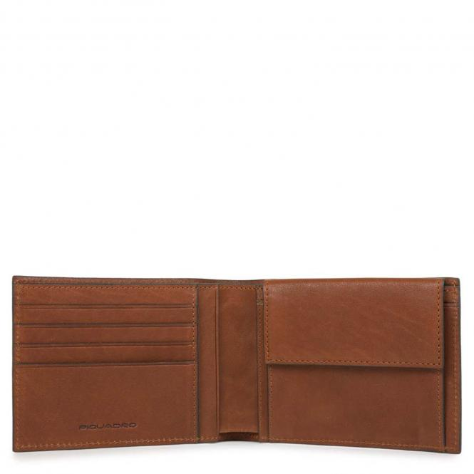Herrengeldbörse mit Hartgeldfach + RFID Hellbraun