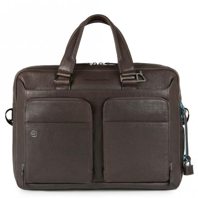 """Kurzgrifflaptoptasche 15"""" mit Tabletfach und CONNEQU-Anhänger dunkelbraun"""