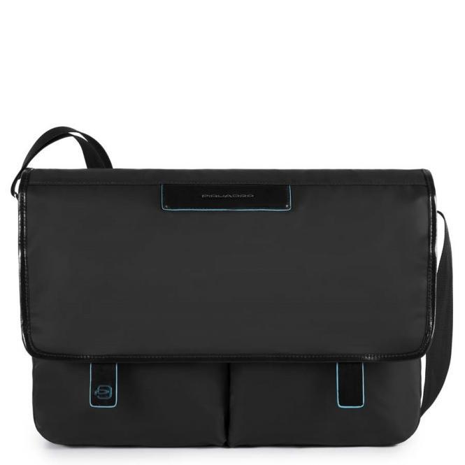 Messenger mit zwei Vortaschen und herausnehmbarerPC-, iPad®-Hülle mit Orga-Fächern schwarz