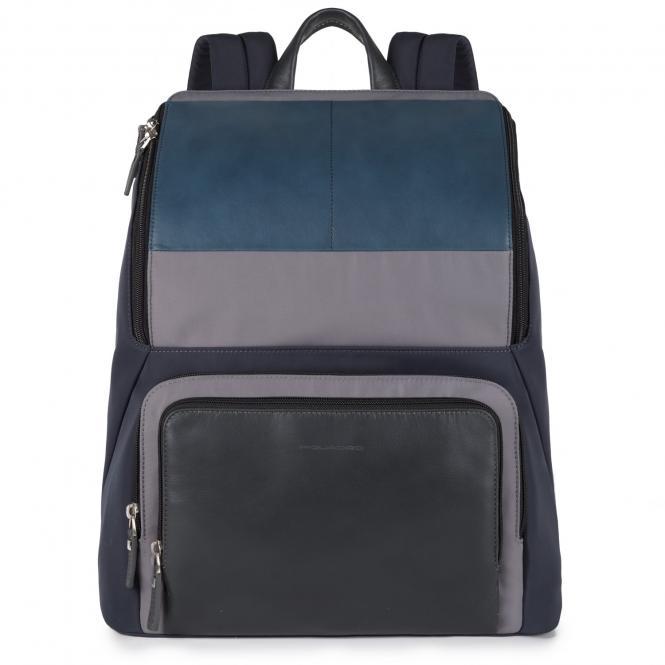 """Laptop-Rucksack aus Leder 15"""" blu"""