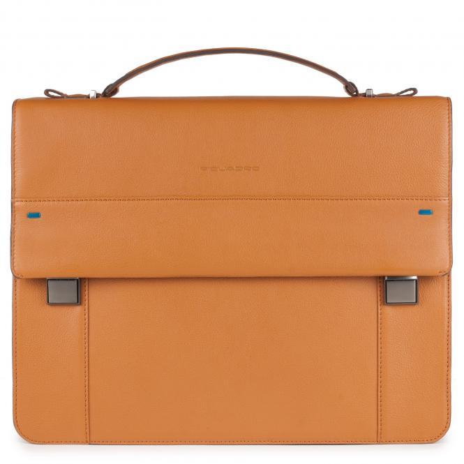Laptoptasche mit Überschlag und iPad®-Fach Senfgelb
