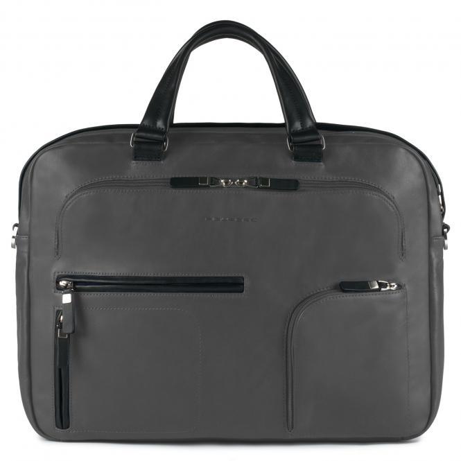 Doppelgriff-Laptoptasche mit iPad® -Fach, Flaschenhalter und Regenschirmfach dunkelgrau