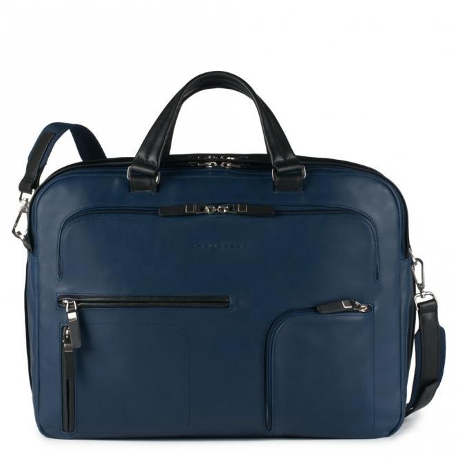 Doppelgriff-Laptoptasche mit iPad®-Fach, Flasche- und Regenschirmfach Nachtblau