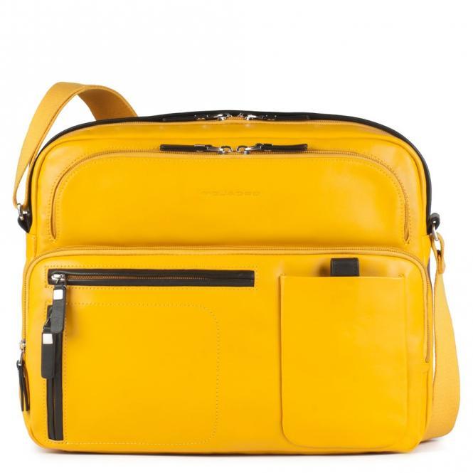 Reportertasche mit Notebookfach, Rengenschirmfach und Flaschenhalter gelb