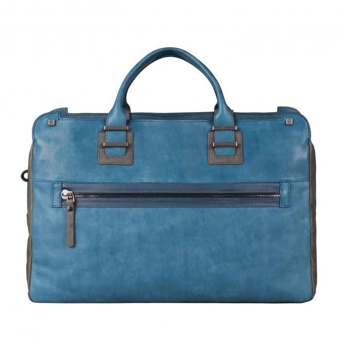 Doppelgriff-Laptoptasche mit Front-tasche und Fach für Tablet blue oil