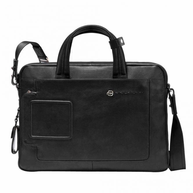 Kurzgrifflaptoptasche mit einem Fach und RV-Vortasche black