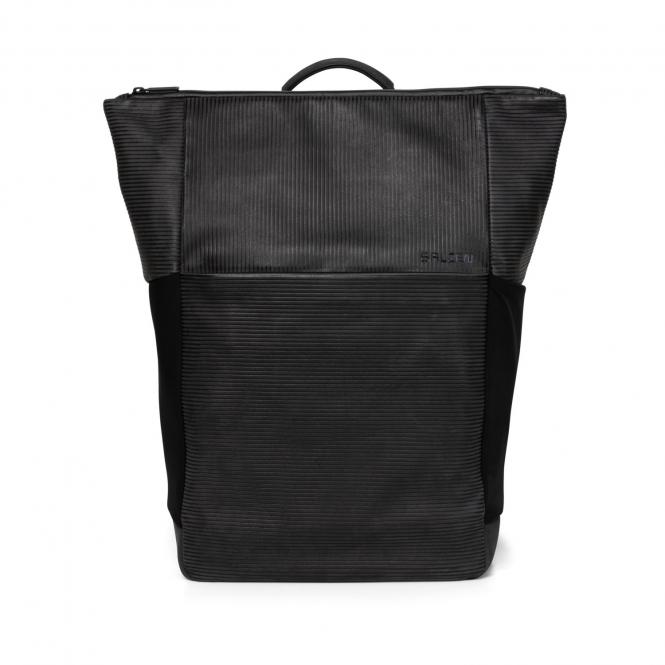 Plain Backpack Leather Aligned Smoke