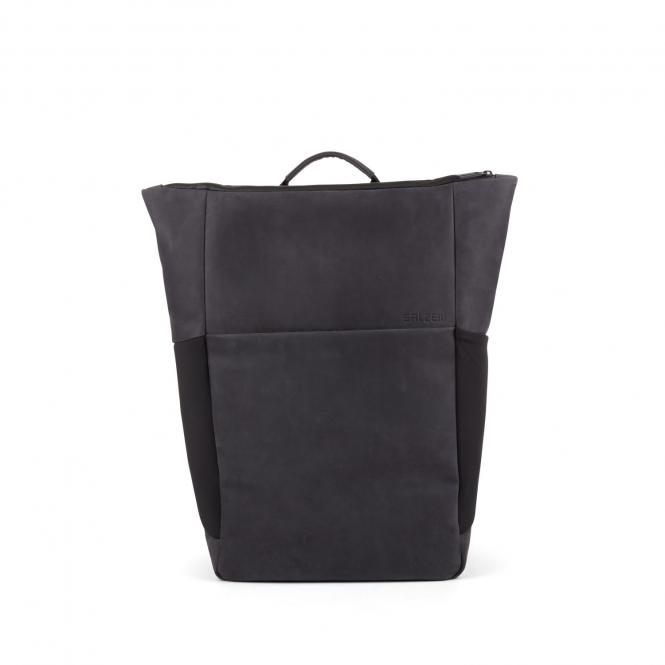Plain Backpack Leather 15,6 Zoll Charcoal Black