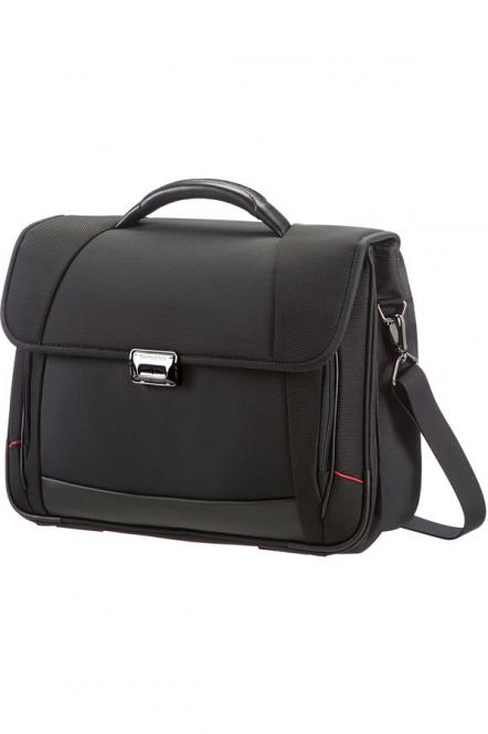 "Briefcase 2 Gussets 16"" Black"