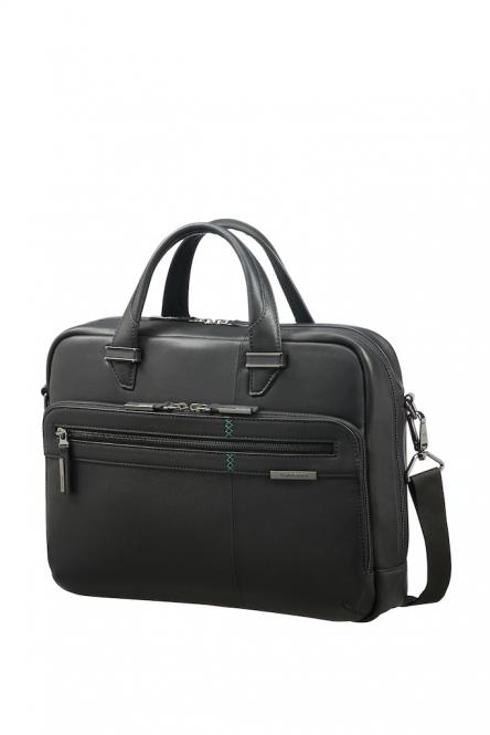 "Leder-Bailhandle mit Laptopfach 14.1"" Black"