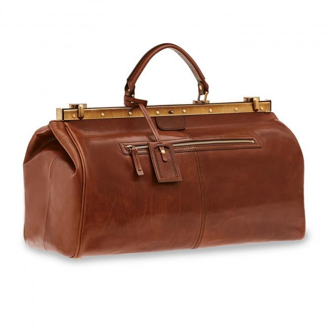 Reisetasche mit Bügelverschluss 50cm Braun