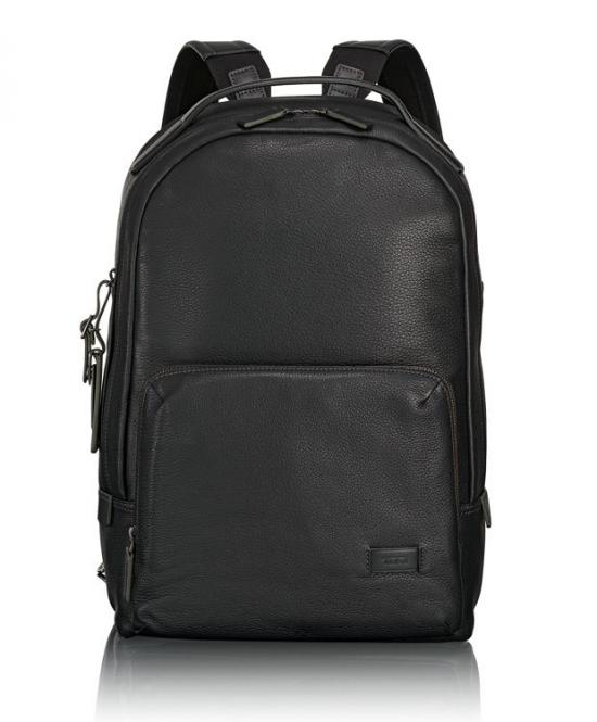 Webster Leder-Rucksack black pebbled
