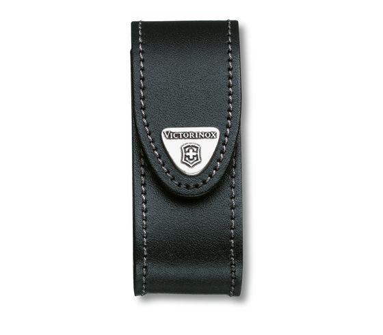 Leder-Gürteletui, für 91mm-Messer bis zu 4 Lagen. Schwarz
