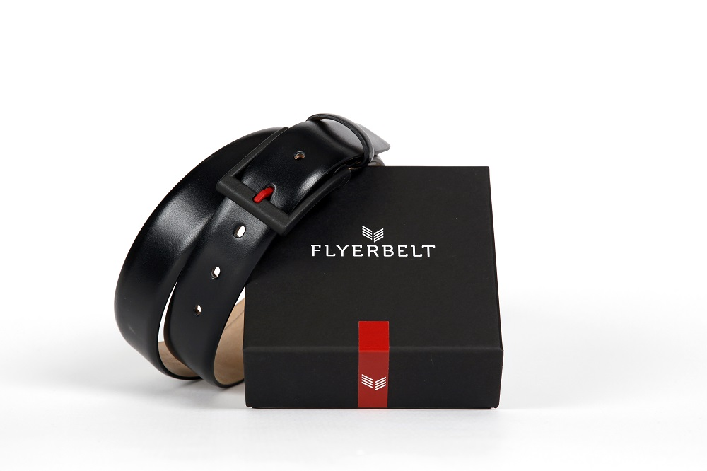 Flyerbelt Metallfreier Vielflieger Gürtel 100cm Schwarz  88e247410d