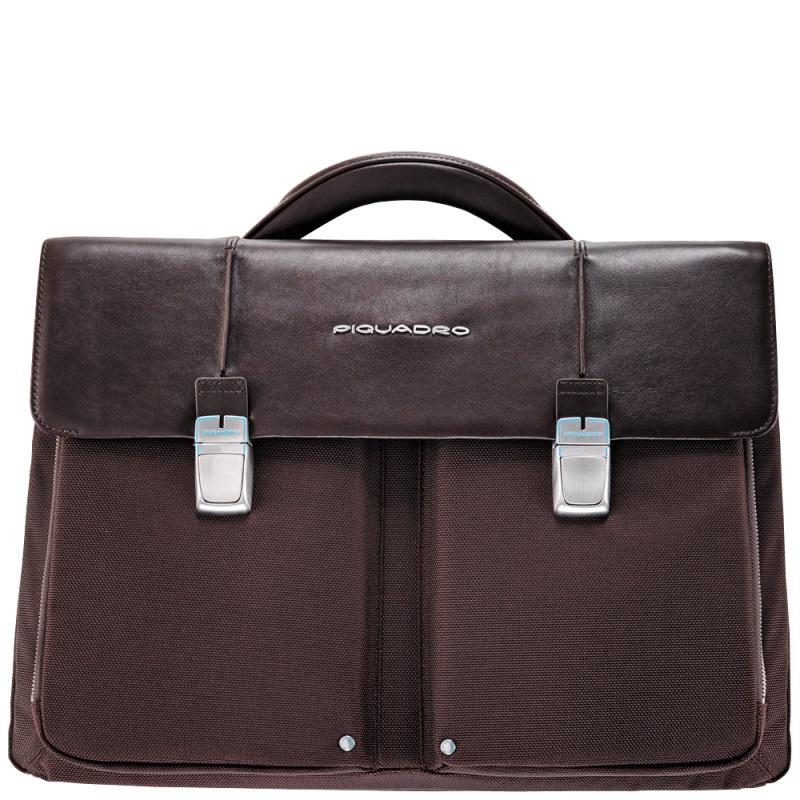 piquadro link laptoptasche mit zwei f chern dark brown jetzt auf kaufen. Black Bedroom Furniture Sets. Home Design Ideas
