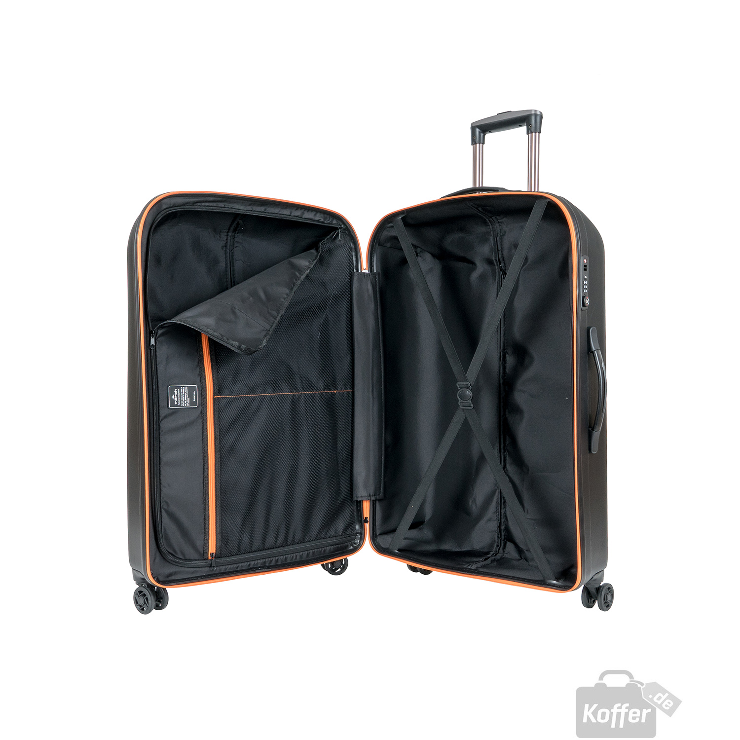 march rocky trolley l 4 rollen black orange zipper jetzt auf kaufen. Black Bedroom Furniture Sets. Home Design Ideas