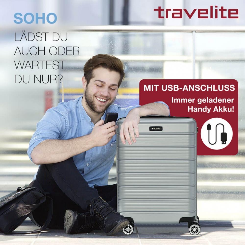 Travelite Soho Trolley mit USB Ladekabel kaufen